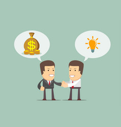 two businessmen shaking hands to seal an agreement vector image