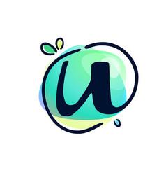 U letter stroke logo at colorful watercolor vector