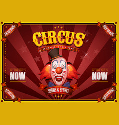 Vintage circus poster with clown head vector