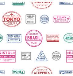visa stamps seamless pattern lisbon tokyo vector image