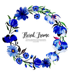watercolor spring floral frame vector image
