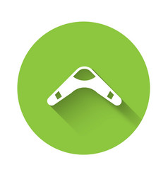 White boomerang icon isolated with long shadow vector