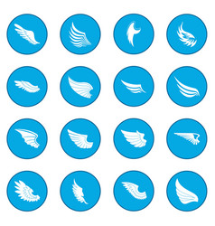 Wings icon blue vector
