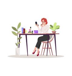 Woman apply makeup semi flat rgb color vector