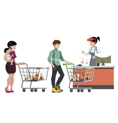 woman cashier and people with purchases vector image