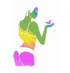 Woman in underwear with butterfly vector