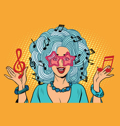 Young woman music notes instead of hairstyles vector