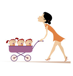Young woman with children in the stroller vector