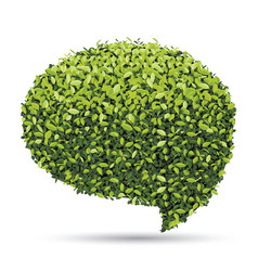 bubble for speech with green leaf vector image