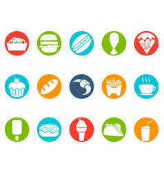 fast foods button icons set vector image