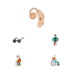 flat icon handicapped set of injured spectacles vector image
