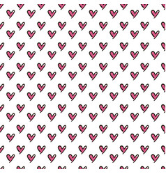hearts seamless pattern cute doodle hearts summer vector image