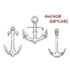 Old stock anchors sketch of sailing ships vector