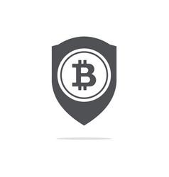 bitcoin trust symbol on the shield line icon vector image