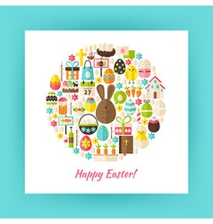 Flat Style Circle Set of Happy Easter Objects over vector image vector image