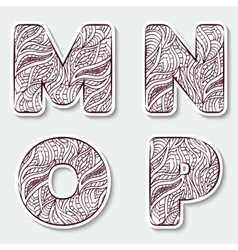Set of capital letters M N O P from the vector image vector image