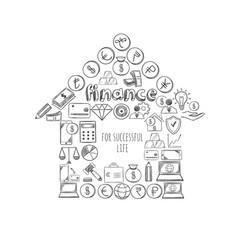 sketch business success concept vector image