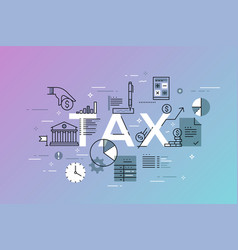 thin line flat design banner for tax web page vector image