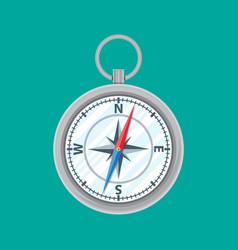 vintage silver metal compass vector image