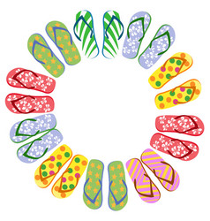 flip flops circle with copy space vector image vector image