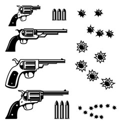 handguns isolated on white background bullet holes vector image