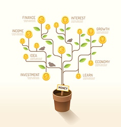 Infographic business money plant and coins flat vector image vector image
