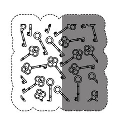 monochrome contour sticker with pattern of vintage vector image vector image