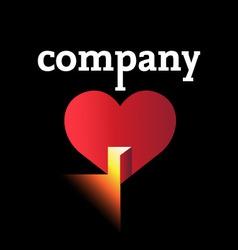 open your heart logo vector image vector image