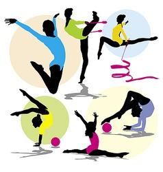 set rhitmic gymnastics vector image