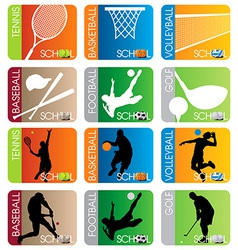 Sport School Insignias set vector image
