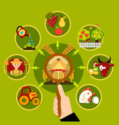agriculture magnifying lens concept vector image vector image
