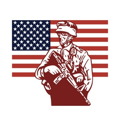American soldier serviceman carrying armalite vector image vector image