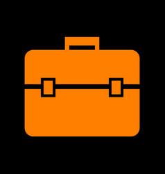 briefcase sign orange icon on black vector image vector image