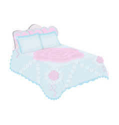 king bed with white blanketqueen bed with pink vector image vector image