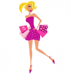 romance shopping woman in pink vector image vector image
