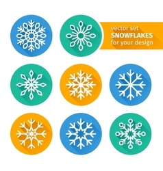 set of icons snowflakes flat design 2 vector image vector image