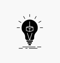 3d cube idea bulb printing box glyph icon isolated vector