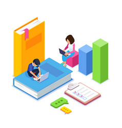 3d isometric online learning or courses concept vector image
