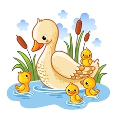 A duck and ducklings vector