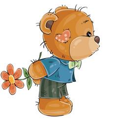 A loving brown teddy bear vector