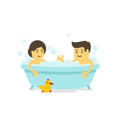a man and woman takes a bath together shower in vector image
