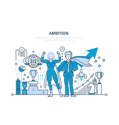 Ambition success in work achievement leadership vector