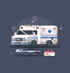 Ambulance car with flasher vector