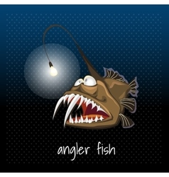 Angler fish with a lantern monkfish sea devil vector image
