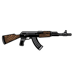 Assault rifle ak47 colorful template vector