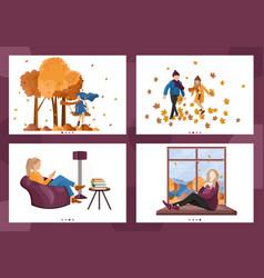Autumn people lifestyle season woman vector