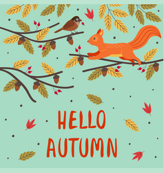 basic rgbautumn card with a squirrel and a bird vector image