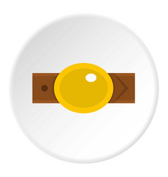 Belt with gold oval shaped buckle icon circle vector
