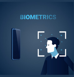 Biometric identification male face scanning modern vector
