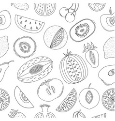 black-and-white seamless pattern with fruits vector image